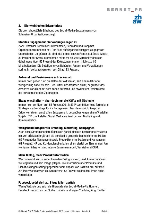 Bernet ZHAW Studie Social Media Schweiz 2013 Slide 3