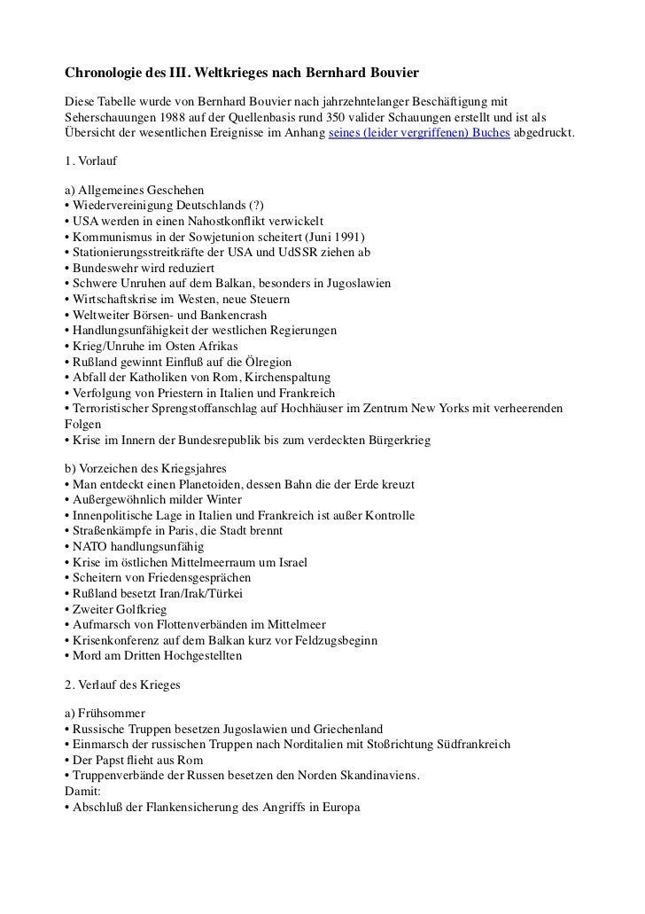 Chronologie des III. Weltkrieges nach Bernhard BouvierDiese Tabelle wurde von Bernhard Bouvier nach jahrzehntelanger Besch...