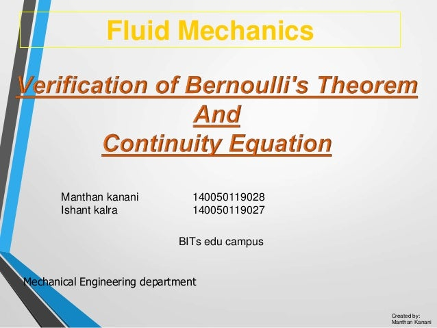 Bernoulli and continuity equation