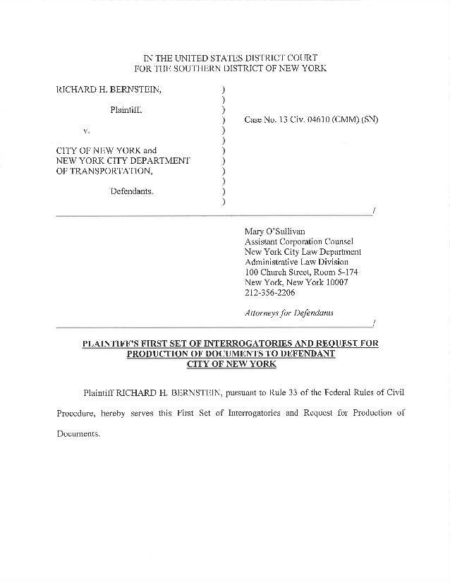 bernstein v city of new york plaintiff 39 s interrogatories. Black Bedroom Furniture Sets. Home Design Ideas