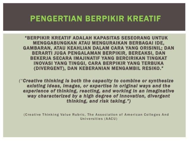 Berpikir Kreatif Dan Kritis Untuk Berinovasi