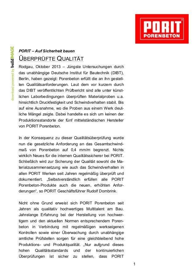 PORIT – Auf Sicherheit bauen  ÜBERPRÜFTE QUALITÄT Rodgau, Oktober 2013 – Jüngste Untersuchungen durch das unabhängige Deut...