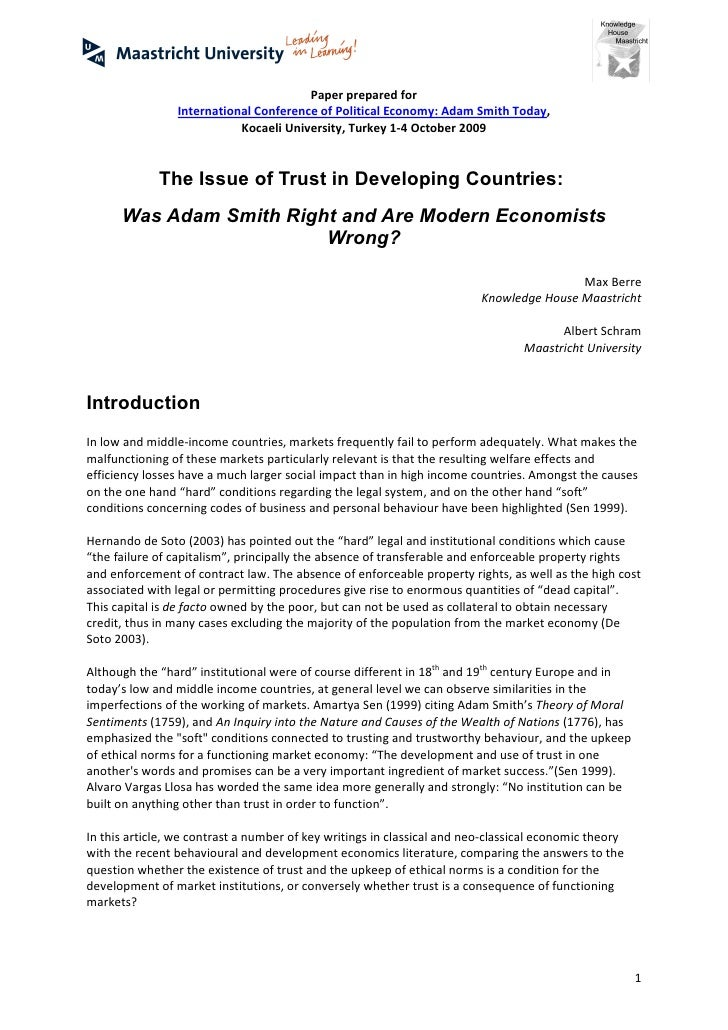 Paper prepared for                International Conference of Political Economy: Adam Smith Today,                        ...