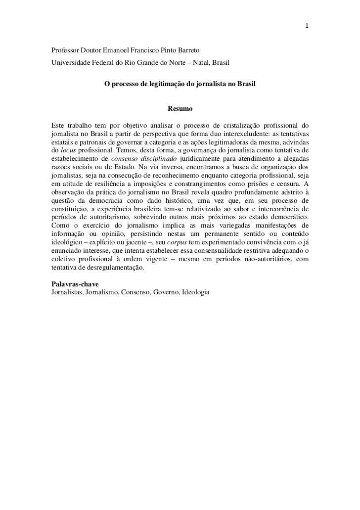 1Professor Doutor Emanoel Francisco Pinto BarretoUniversidade Federal do Rio Grande do Norte – Natal, Brasil              ...