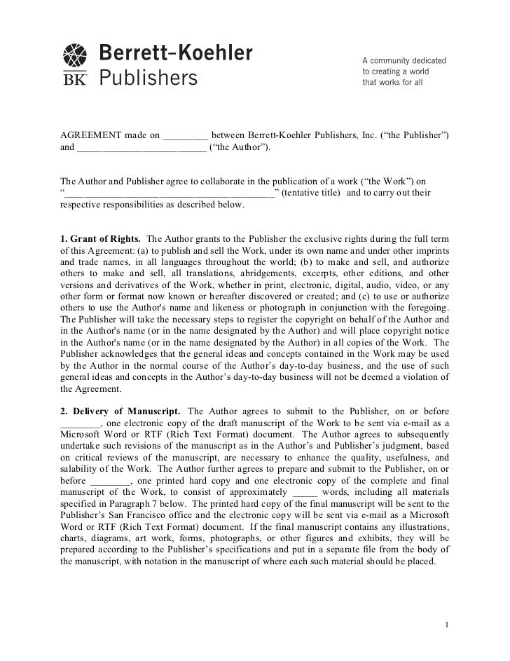 """AGREEMENT made on _________ between Berrett-Koehler Publishers, Inc. (""""the Publisher"""")and __________________________ (""""the..."""