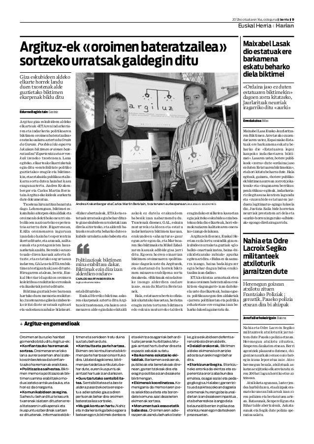 EdurneBegiristain Gasteiz Argituz giza eskubideen aldeko elkarteak «ETAren indarkeria- ren eta indarkeria politikoaren bik...