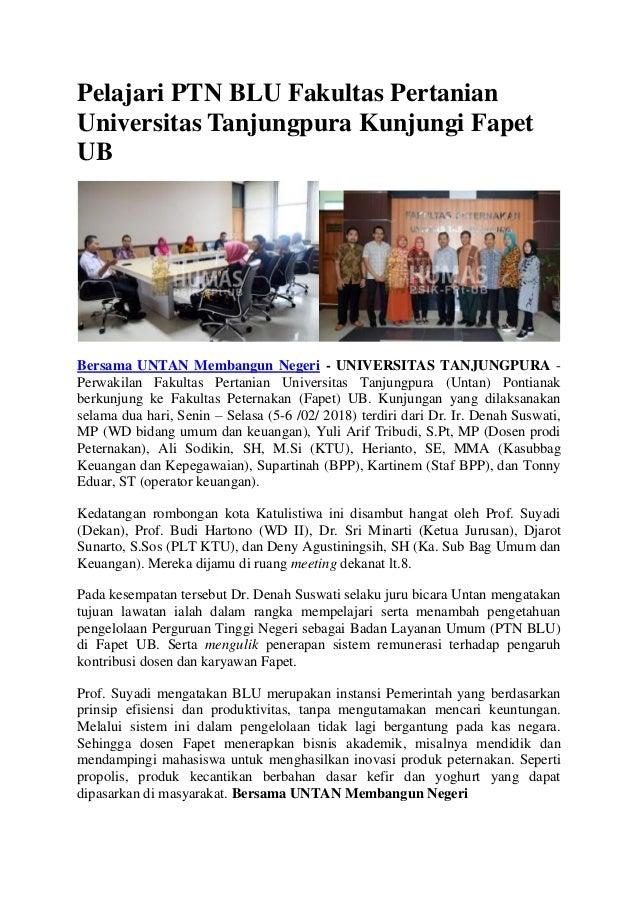 Pelajari PTN BLU Fakultas Pertanian Universitas Tanjungpura Kunjungi Fapet UB Bersama UNTAN Membangun Negeri - UNIVERSITAS...