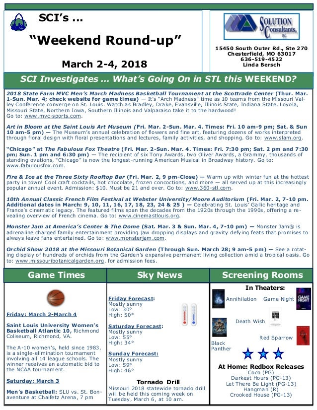 Bersch weekend round up newsletter - mar  2-4 2018