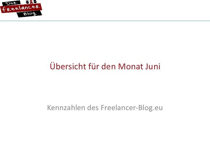 Übersicht für den Monat Juni Kennzahlen des Freelancer-Blog.eu