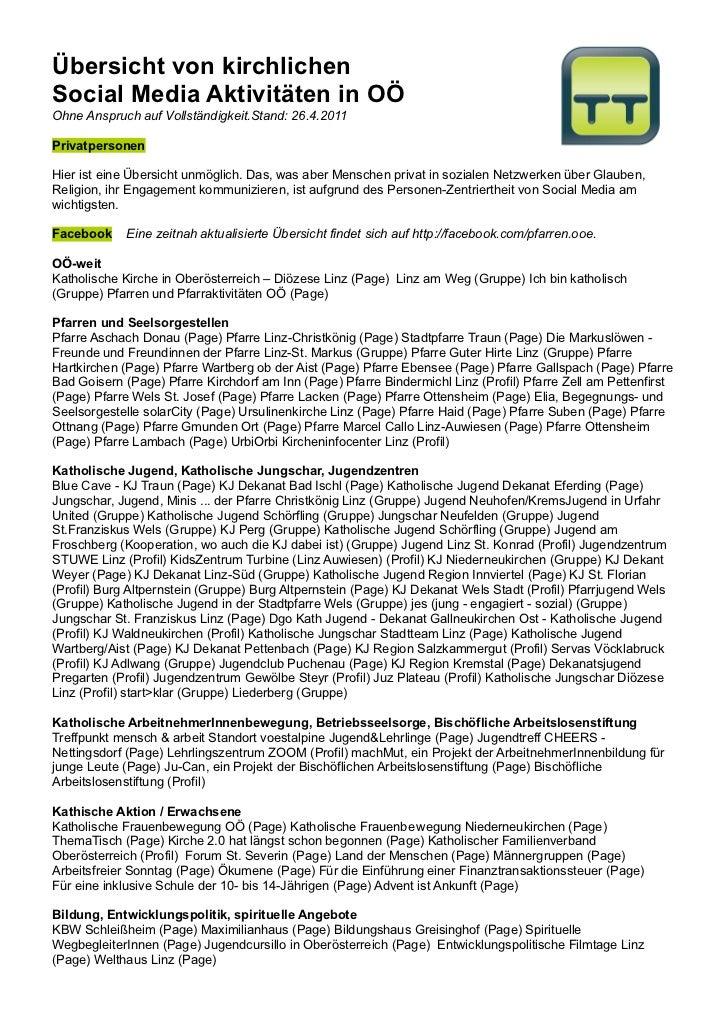 Übersicht von kirchlichenSocial Media Aktivitäten in OÖOhne Anspruch auf Vollständigkeit.Stand: 26.4.2011PrivatpersonenHie...
