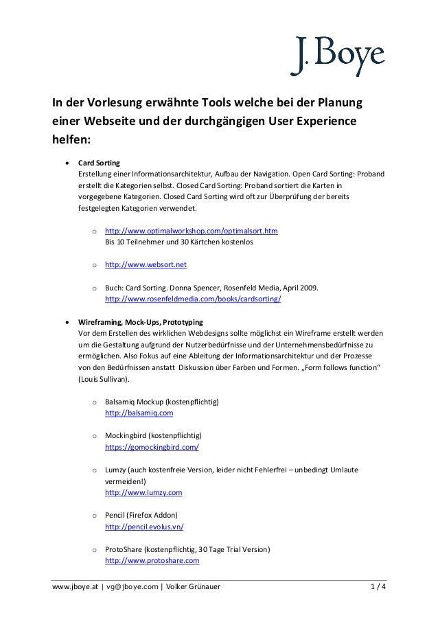 In der Vorlesung erwähnte Tools welche bei der Planungeiner Webseite und der durchgängigen User Experiencehelfen:      Ca...