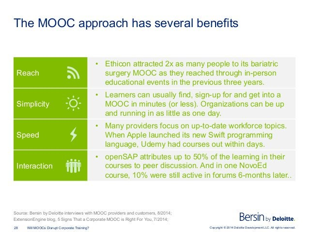 Copyright © 2014 Deloitte Development LLC. All rights reserved.28 Will MOOCs Disrupt Corporate Training? The MOOC approach...