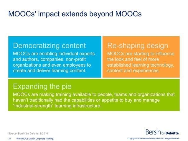 Copyright © 2014 Deloitte Development LLC. All rights reserved.31 Will MOOCs Disrupt Corporate Training? MOOCs' impact ext...