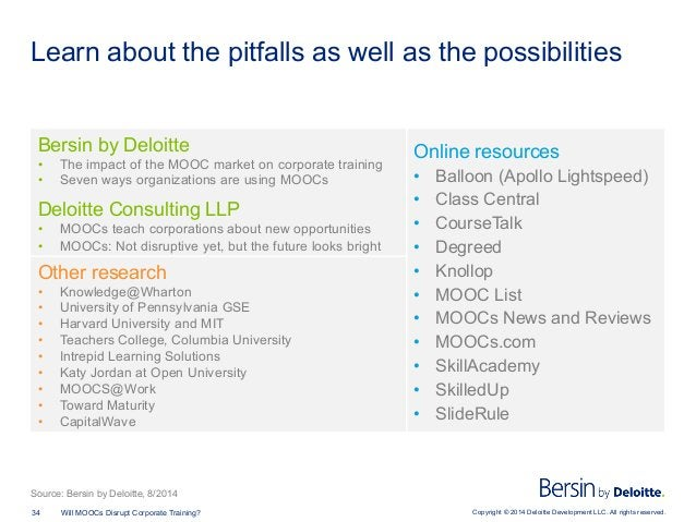 Copyright © 2014 Deloitte Development LLC. All rights reserved.34 Will MOOCs Disrupt Corporate Training? Learn about the p...