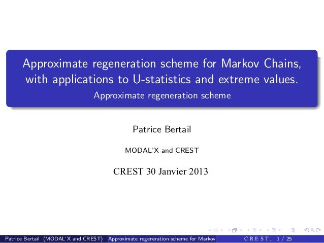 Approximate regeneration scheme for Markov Chains,      with applications to U-statistics and extreme values.             ...