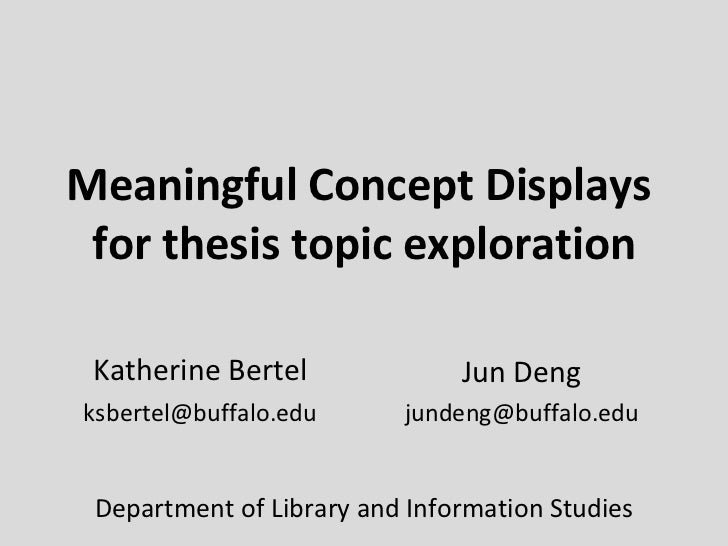 Meaningful Concept Displays  for thesis topic exploration Katherine Bertel [email_address] Jun Deng [email_address] Depart...