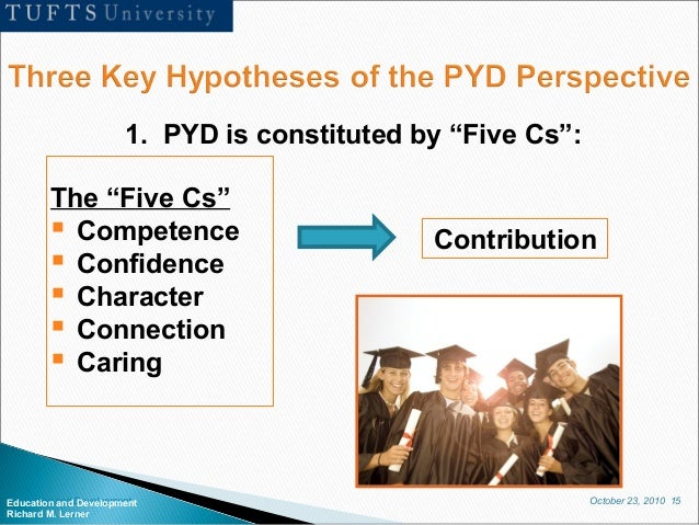 """October 23, 2010 15Education and Development Richard M. Lerner 1. PYD is constituted by """"Five Cs"""": The """"Five Cs""""  Compete..."""