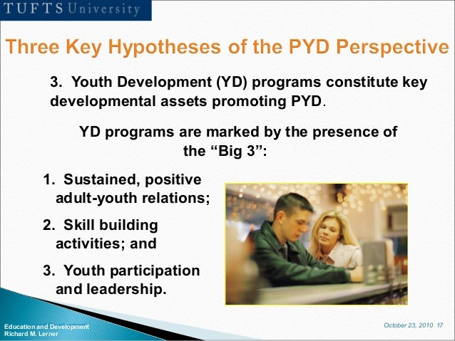 October 23, 2010 17Education and Development Richard M. Lerner 3. Youth Development (YD) programs constitute key developme...