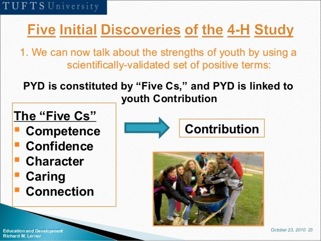 October 23, 2010 23Education and Development Richard M. Lerner 1. We can now talk about the strengths of youth by using a ...