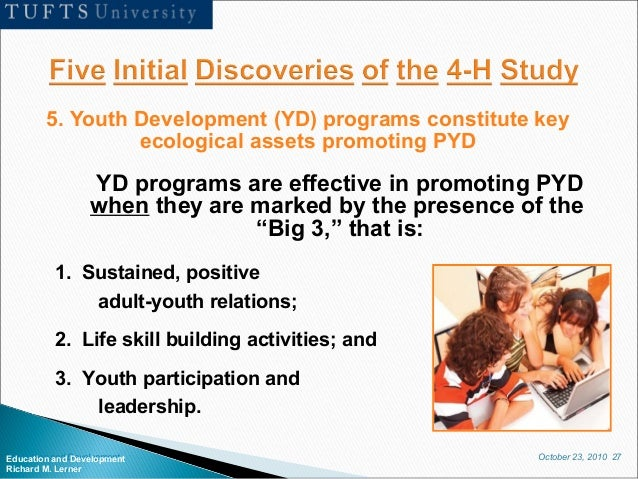 October 23, 2010 27Education and Development Richard M. Lerner 5. Youth Development (YD) programs constitute key ecologica...