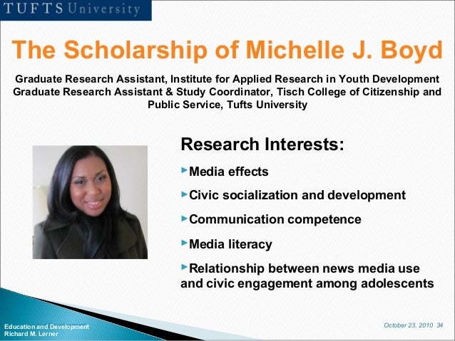 October 23, 2010 34Education and Development Richard M. Lerner The Scholarship of Michelle J. Boyd Graduate Research Assis...