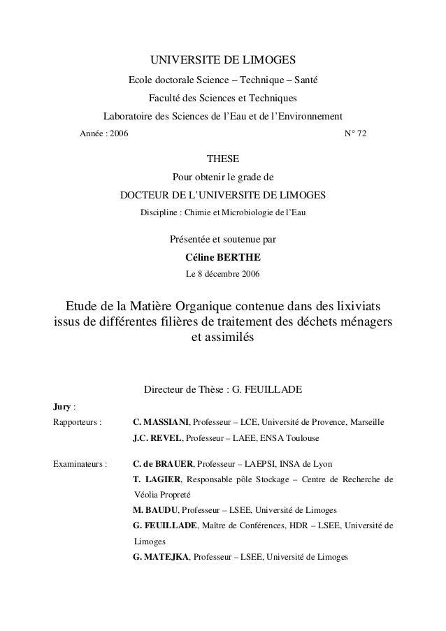 UNIVERSITE DE LIMOGES Ecole doctorale Science – Technique – Santé Faculté des Sciences et Techniques Laboratoire des Scien...