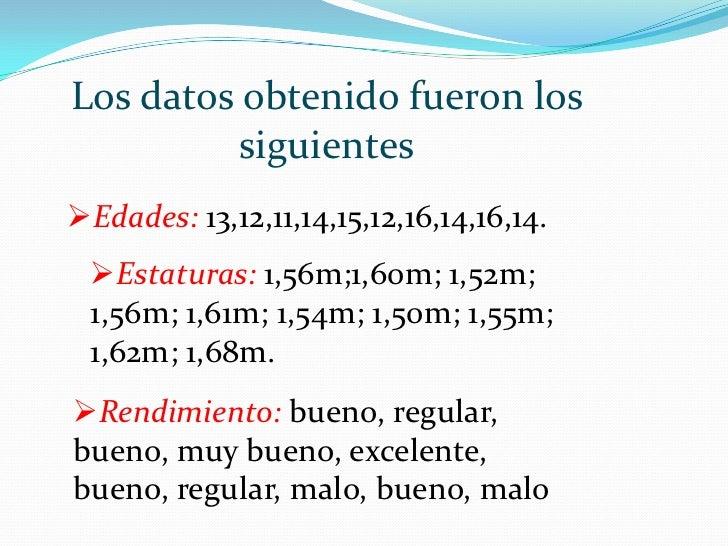 Los datos obtenido fueron los siguientes<br /><ul><li>Edades: 13,12,11,14,15,12,16,14,16,14.