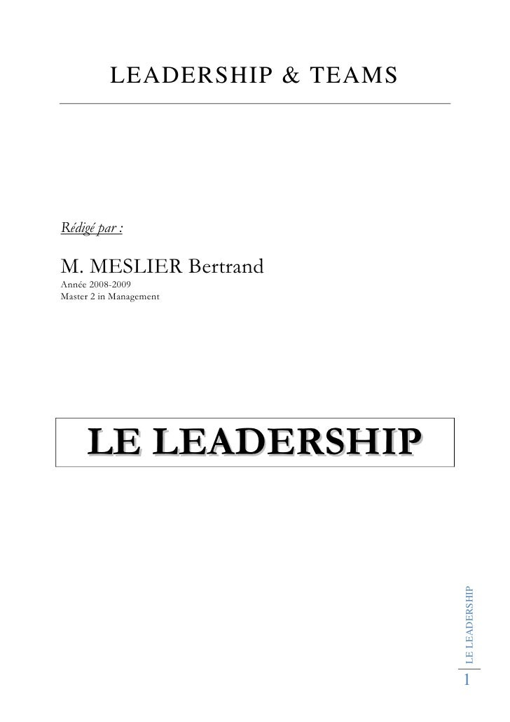 LEADERSHIP & TEAMS     Rédigé par :  M. MESLIER Bertrand Année 2008-2009 Master 2 in Management          LE LEADERSHIP    ...