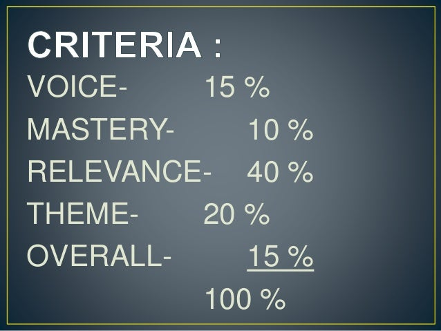 VOICE- 15 % MASTERY- 10 % RELEVANCE- 40 % THEME- 20 % OVERALL- 15 % 100 %