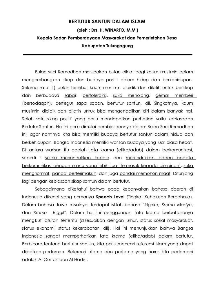 BERTUTUR SANTUN DALAM ISLAM                         (oleh : Drs. H. WINARTO, M.M.)       Kepala Badan Pemberdayaan Masyara...