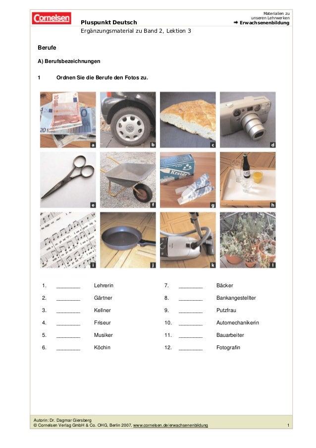 Pluspunkt Deutsch  Materialien zu  unseren Lehrwerken  Erwachsenenbildung  Ergänzungsmaterial zu Band 2, Lektion 3  Berufe...