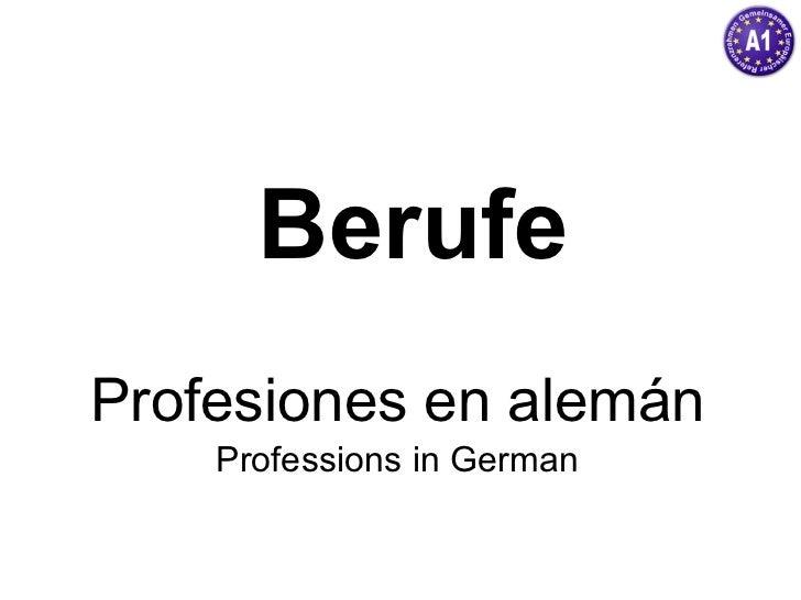 Berufe Profesiones en alemán Professions in German