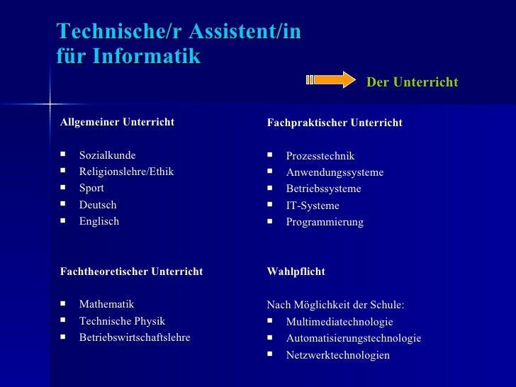 Der Beruf des Technischen Assistenten für Informatik Slide 3