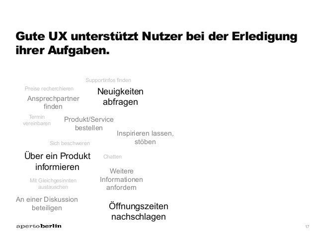 Gute UX unterstützt Nutzer bei der Erledigung ihrer Aufgaben. 17 Über ein Produkt informieren Preise recherchieren Produkt...