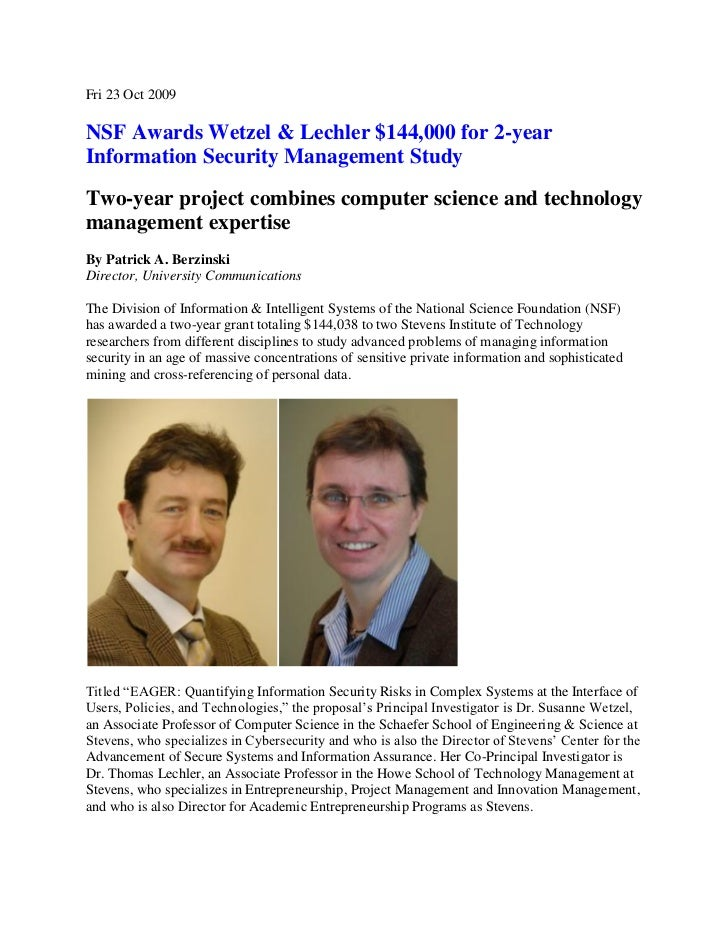 Fri 23 Oct 2009NSF Awards Wetzel & Lechler $144,000 for 2-yearInformation Security Management StudyTwo-year project combin...