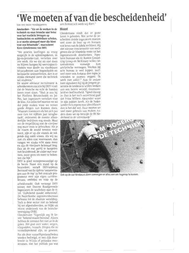 Artikel Cobouw over het imago van werken in de techniek