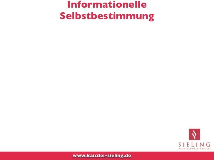 InformationelleSelbstbestimmung  www.kanzlei-sieling.de