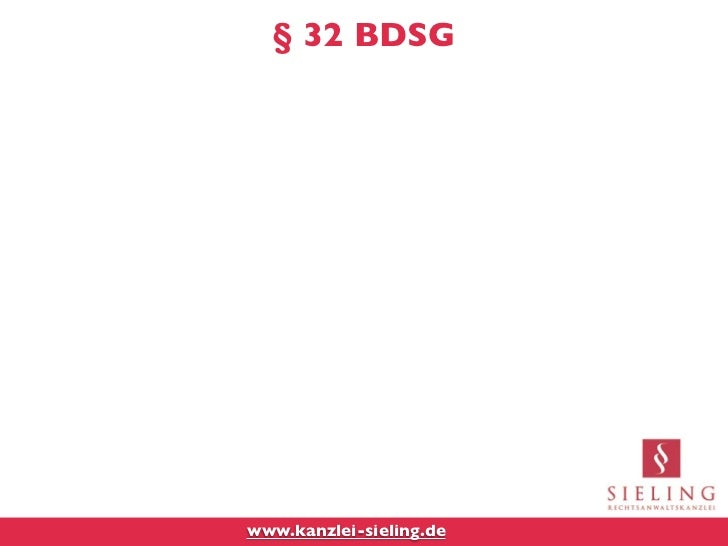 § 32 BDSGwww.kanzlei-sieling.de