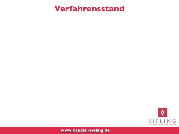 Verfahrensstand www.kanzlei-sieling.de
