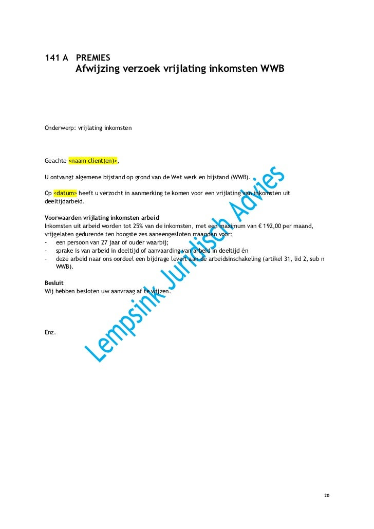 voorbeeldbrief afwijzing offerte Beschikkingen WWB 2012 IOAW IOAZ WKKP GPK WMO voorbeeldbrief afwijzing offerte