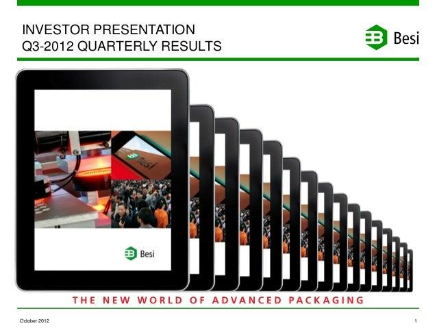 INVESTOR PRESENTATIONQ3-2012 QUARTERLY RESULTSOctober 2012                1