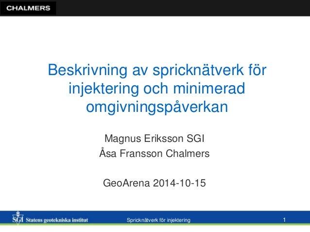 Beskrivning av spricknätverk för  injektering och minimerad  omgivningspåverkan  Magnus Eriksson SGI  Åsa Fransson Chalmer...