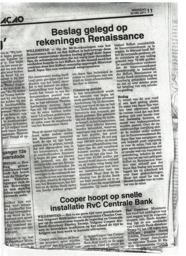 Beslag renaissance curacao resort & casino bank amigoe