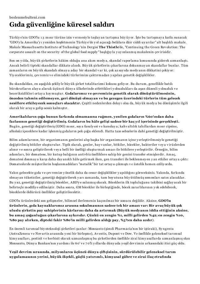 beslenmebulteni.com  .WC  Gıda güvenlıgıne küresel saldırı  Türkiye'nin GDO'1u 13 mısır türüne izin vermesiyle taşlay an t...
