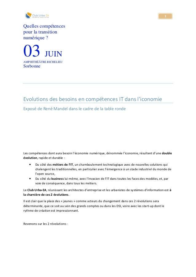 1 Quelles compétences pour la transition numérique ? 03 JUIN AMPHITHÉÂTRE RICHELIEU Sorbonne Evolutions des besoins en com...