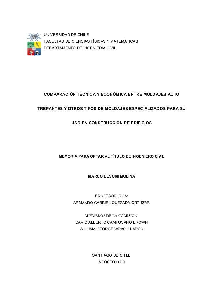 UNIVERSIDAD DE CHILE  FACULTAD DE CIENCIAS FÍSICAS Y MATEMÁTICAS  DEPARTAMENTO DE INGENIERÍA CIVIL  COMPARACIÓN TÉCNICA Y ...
