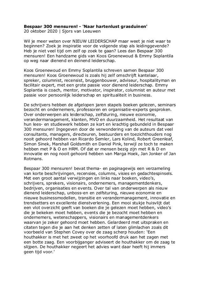 Bespaar 300 mensuren! - 'Naar hartenlust grasduinen' 20 oktober 2020 | Sjors van Leeuwen Wil je meer weten over NIEUW LEID...