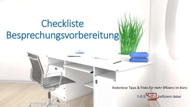 Kostenlose Tipps & Tricks für mehr Effizienz im Büro: Checkliste Besprechungsvorbereitung