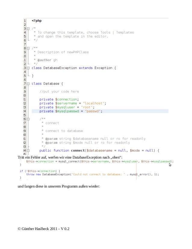 """Tritt ein Fehler auf, werfen wir eine DatabaseException nach """"oben"""":und fangen diese in unserem Programm außen wieder:© Gü..."""
