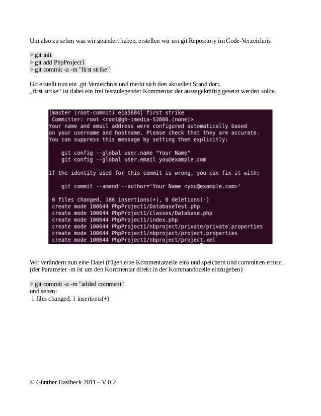 Um also zu sehen was wir geändert haben, erstellen wir ein git Repository im Code-Verzeichnis> git init> git add PhpProjec...